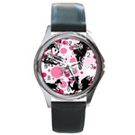 Fantasy In Pink Round Leather Watch (Silver Rim)