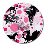 Fantasy In Pink 8  Mouse Pad (Round)