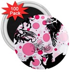 Fantasy In Pink 3  Button Magnet (100 pack)