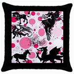 Fantasy In Pink Black Throw Pillow Case
