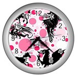 Fantasy In Pink Wall Clock (Silver)