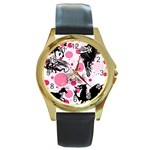Fantasy In Pink Round Leather Watch (Gold Rim)