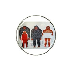 1 Neanderthal & 3 Big Foot,on White, Golf Ball Marker 4 Pack (for Hat Clip) by creationtruth
