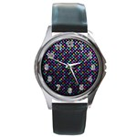Polka Dot Sparkley Jewels 2 Round Leather Watch (Silver Rim)