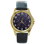 Polka Dot Sparkley Jewels 2 Round Leather Watch (Gold Rim)