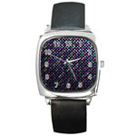 Polka Dot Sparkley Jewels 2 Square Leather Watch