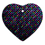 Polka Dot Sparkley Jewels 2 Heart Ornament (Two Sides)