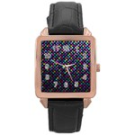 Polka Dot Sparkley Jewels 2 Rose Gold Leather Watch