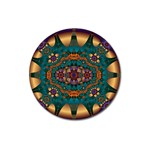 Psychodelic Purple and Gold Fractal Magnet 3  (Round)