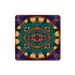 Psychodelic Purple and Gold Fractal Magnet (Square)
