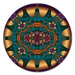 Psychodelic Purple and Gold Fractal Magnet 5  (Round)