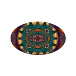 Psychodelic Purple and Gold Fractal Sticker Oval (100 pack)