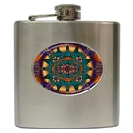 Psychodelic Purple and Gold Fractal Hip Flask (6 oz)