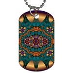 Psychodelic Purple and Gold Fractal Dog Tag (Two Sides)