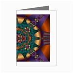 Psychodelic Purple and Gold Fractal Mini Greeting Card