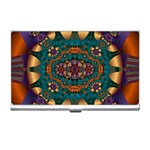 Psychodelic Purple and Gold Fractal Business Card Holder