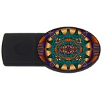 Psychodelic Purple and Gold Fractal USB Flash Drive Oval (1 GB)