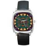 Psychodelic Purple and Gold Fractal Square Metal Watch