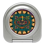 Psychodelic Purple and Gold Fractal Travel Alarm Clock