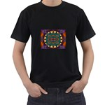 Psychodelic Purple and Gold Fractal Black T-Shirt
