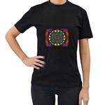 Psychodelic Purple and Gold Fractal Women s Black T-Shirt