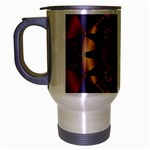 Psychodelic Purple and Gold Fractal Travel Mug (Silver Gray)