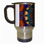Psychodelic Purple and Gold Fractal Travel Mug (White)