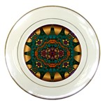 Psychodelic Purple and Gold Fractal Porcelain Plate