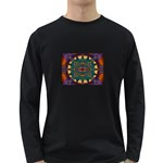 Psychodelic Purple and Gold Fractal Long Sleeve Dark T-Shirt