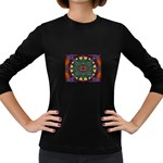Psychodelic Purple and Gold Fractal Women s Long Sleeve Dark T-Shirt