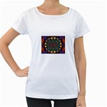 Psychodelic Purple and Gold Fractal Maternity White T-Shirt