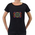 Psychodelic Purple and Gold Fractal Maternity Black T-Shirt