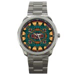 Psychodelic Purple and Gold Fractal Sport Metal Watch
