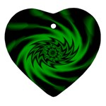 Neon Green and Black Goth Fractal Ornament (Heart)