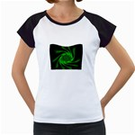 Neon Green and Black Goth Fractal Women s Cap Sleeve T