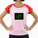 Neon Green and Black Goth Fractal Women s Cap Sleeve T-Shirt