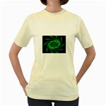 Neon Green and Black Goth Fractal Women s Yellow T-Shirt