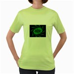 Neon Green and Black Goth Fractal Women s Green T-Shirt