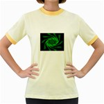 Neon Green and Black Goth Fractal Women s Fitted Ringer T-Shirt