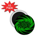 Neon Green and Black Goth Fractal 1.75  Magnet (10 pack)
