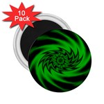 Neon Green and Black Goth Fractal 2.25  Magnet (10 pack)