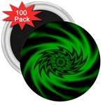 Neon Green and Black Goth Fractal 3  Magnet (100 pack)