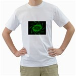 Neon Green and Black Goth Fractal White T-Shirt