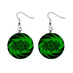 Neon Green and Black Goth Fractal 1  Button Earrings