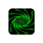 Neon Green and Black Goth Fractal Rubber Square Coaster (4 pack)