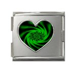 Neon Green and Black Goth Fractal Mega Link Heart Italian Charm (18mm)