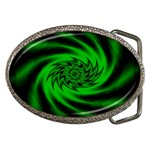 Neon Green and Black Goth Fractal Belt Buckle