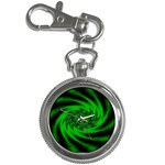 Neon Green and Black Goth Fractal Key Chain Watch