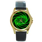 Neon Green and Black Goth Fractal Round Gold Metal Watch