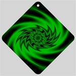 Neon Green and Black Goth Fractal Car Window Sign